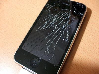 iphoneのフロントガラス大破