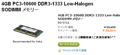 Thinkpad対応4GBメモリ