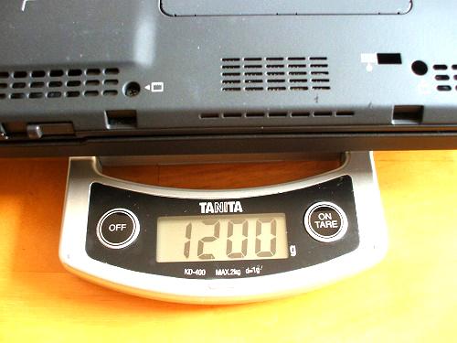 X201 バッテリを外した状態の重量2