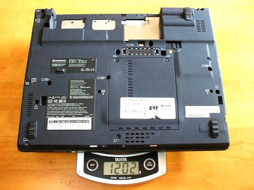 X60 8セルバッテリを外した状態での重量