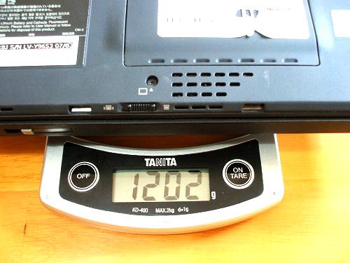X60 8セルバッテリを外した状態の重量2