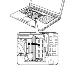 T410のキーボード下にあるメモリスロット