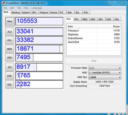 ThinkPad T510でのCrystalMark 2004R3実行結果