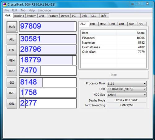 X201 tabletでCrystalMark 2004R3