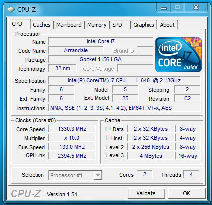 CPU-Z X201 tabletのCPU情報