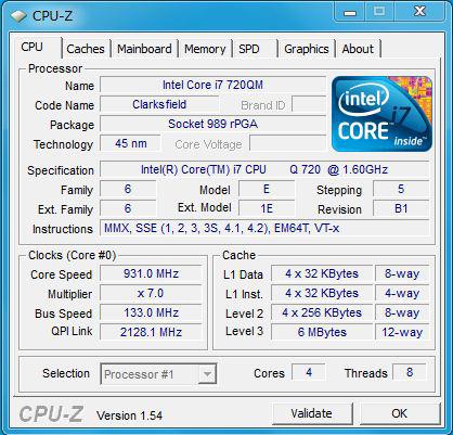 W510のプロセッサの情報