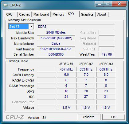 CPU-Z W510のメモリスロット3