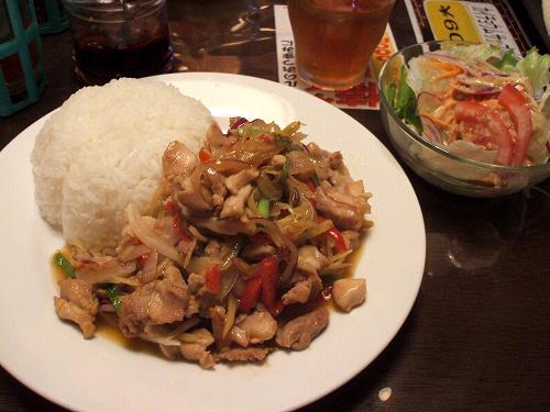 鶏肉と生姜炒めとサラダ