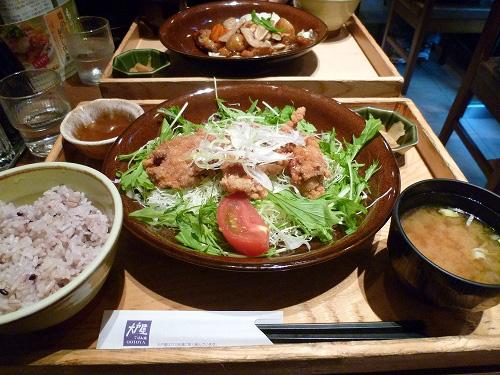 鶏の竜田揚げ オレンジポン酢定食