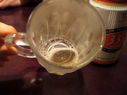 ビールを一口だけ