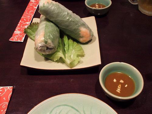 小海老と豚肉と野菜の生春巻き