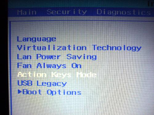 dv6aのBIOS設定 Action Keys Mode