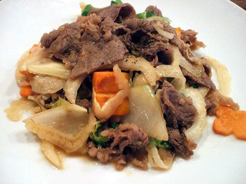 牛肉セロリ炒め