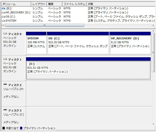 HPE 290jp ディスクの管理画面