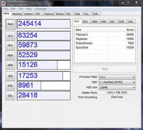 HPE 290jp CrystalMark 2004R3のスコア