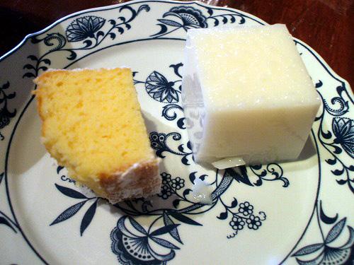杏仁豆腐風ゼリーとケーキ