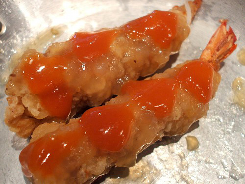 海老の肉巻きチリソースのせ