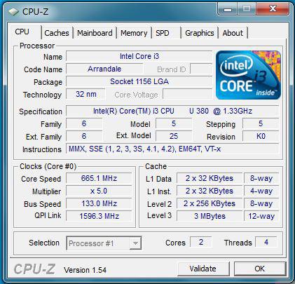 "Edge 11"" CPU-Zのプロセッサ情報"