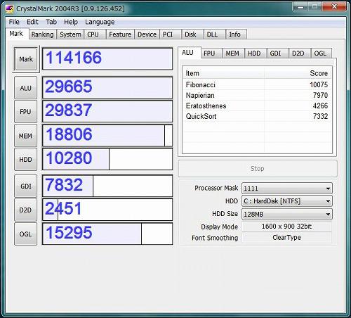 ProBook 4720s CrystalMark 2004R3のスコア