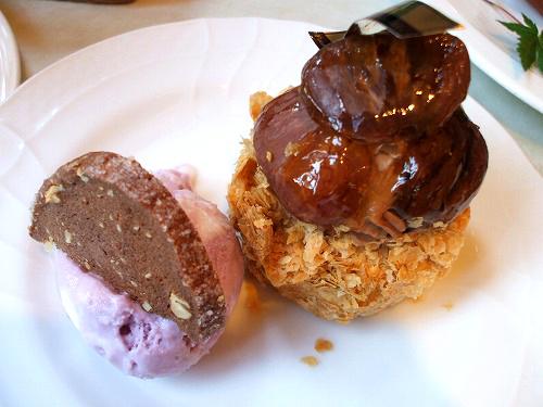 渋皮栗のクリームパイとアイス