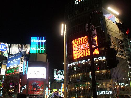 渋谷交差点の晩の風景