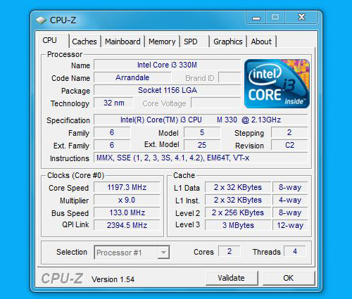 "Edge 15"" CPU-ZのCPU"