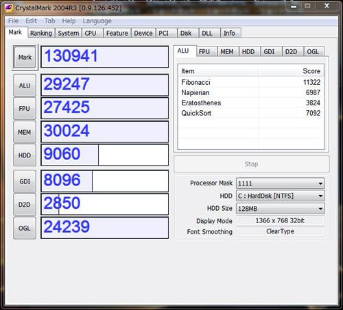 IdeaPad Y560 CrystalMark 2004R3のスコア
