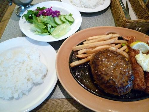 国産 黒×黒ハンバーグステーキ&海老フライ