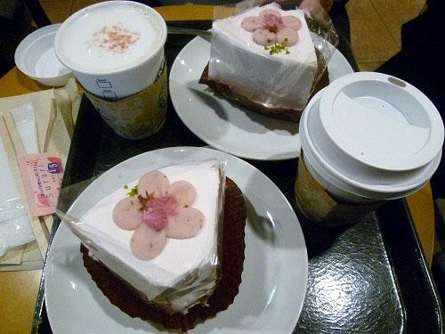 スタバで桜のケーキ
