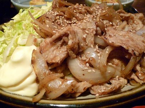 大量の豚の生姜焼き