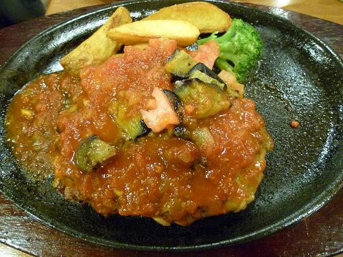 トマトとナスのハンバーグ