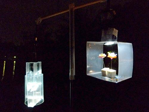 展示されている光のアート