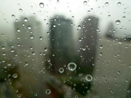 窓についた雨の水滴