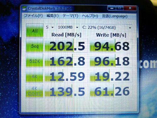 LuvBook L SSDモデル CrystalDiskMarkのスコア