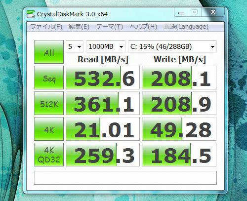 h8-1090jp CrystalDiskMarkのスコア