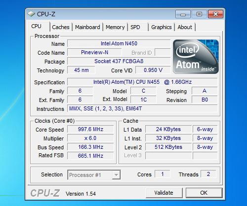 IdeaPad S100 CPU-Zの内容