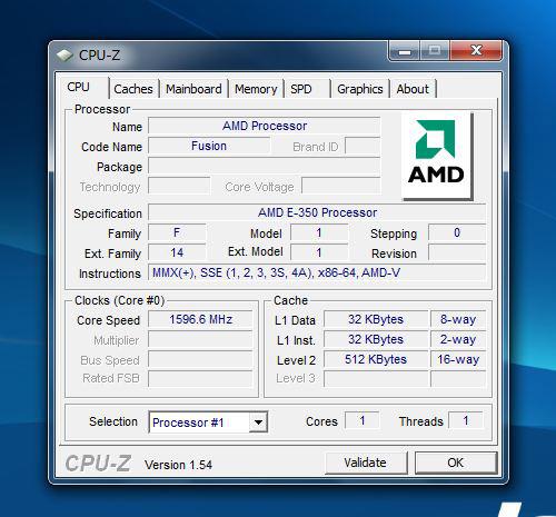 IdeaPad S205の CPU-Zの内容