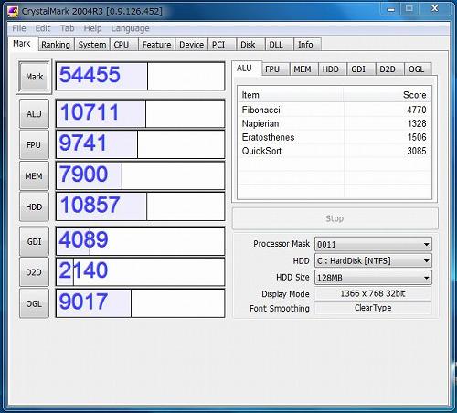 IdeaPad S205 CrystalMark 2004R3の実行結果